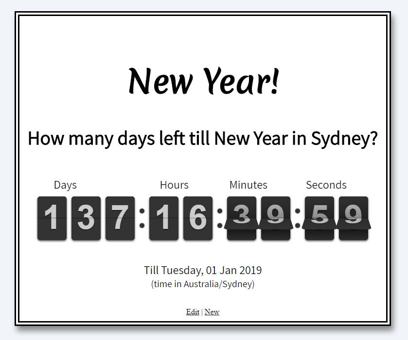 New year counter - Sydney